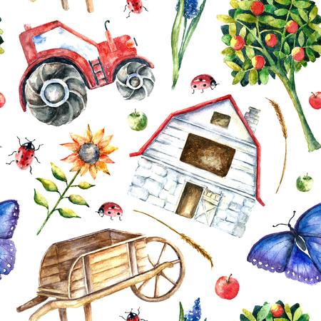 Watercolor organic farm seamless pattern. Hand drawn objects tractor, sunflower, truck, fence, basket, butterfly, ladybug and spica with place for text. Vector