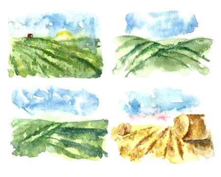 フィールドと農場で簡単な水彩風景のセットします。手書き有機農場。ベクトル