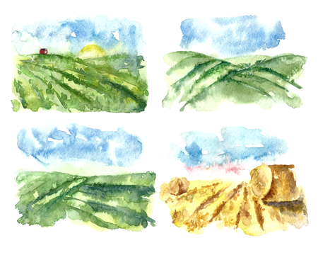 Set of simple watercolor landscape with fields and farms. Hand drawn organic farms.Vector Illustration