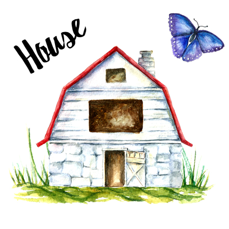 Watercolor of a blue barn house on a white background. Blue barn farm with green grass and blue butterfly.vector