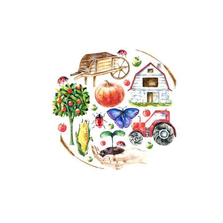 Aquarelle ferme biologique de cadre rond. Main objets dessinés: tracteur, tournesol, camion, clôture, panier, papillon coccinelle citrouille maïs et spicavector