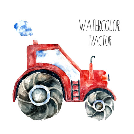 agronomics: Organic farming eco tractor. Watercolor red tractor.vector Illustration
