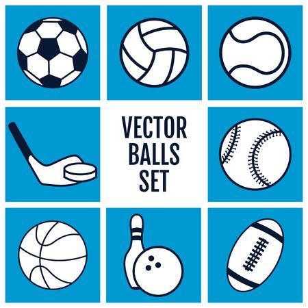 balones deportivos: Conjunto de iconos de deportes bolas sobre un fondo azul. ilustración del vector siluetas. Vectores