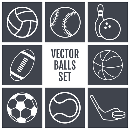 sports balls: Set of white lines icons sports balls on a gray background . Vector illustration  silhouettes.