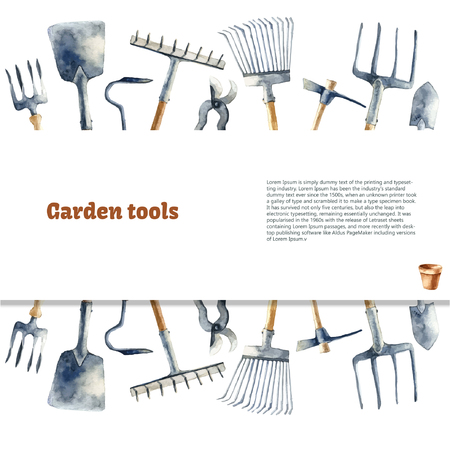 Aquarell-Garten-Tools gesetzt.
