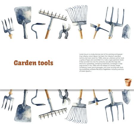 tool: Watercolor garden tools set. Illustration