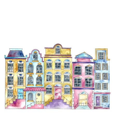 watercolor painting: Watercolor cartoon buildings.