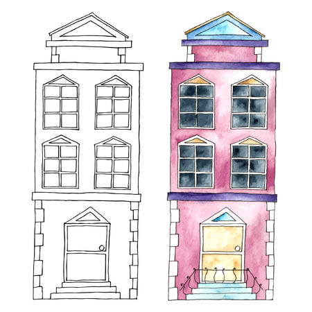 europeans: Watercolor cartoon buildings.