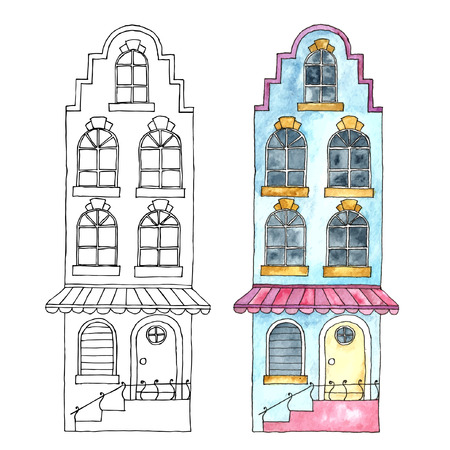 country house: Watercolor cartoon buildings.