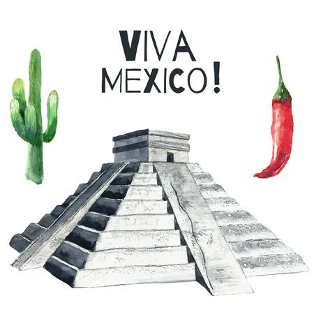 spanish ethnicity: Travel Concept Mexico Landmark Watercolor Icons Design .Vector Illustration.