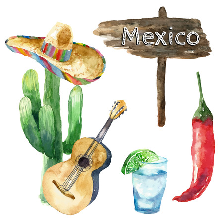 mexico city: Travel Concept Mexico Landmark Watercolor Icons Design .Vector Illustration.
