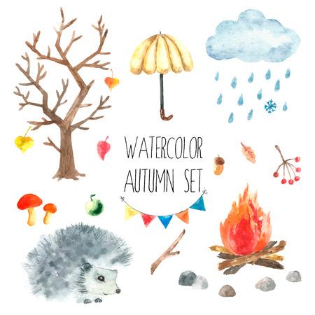 fogatas: Establece la acuarela de dibujos animados otoño. Dibujado a mano ilustración aislada en el fondo blanco. Vectores
