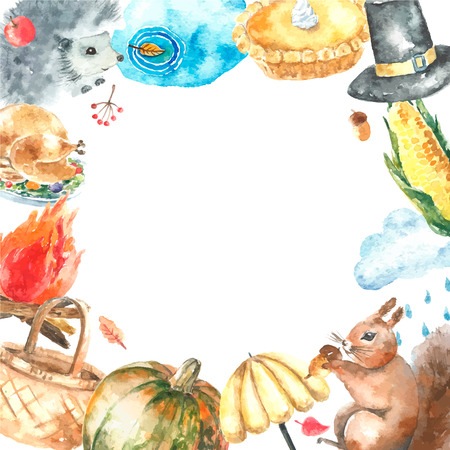 bonfire: Watercolor autumn cartoon set. Hand drawn isolated illustration on white background.