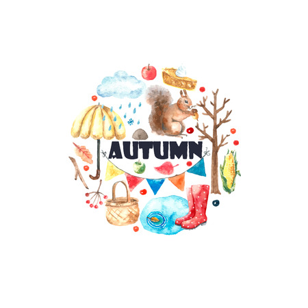 cartoon autumn: Watercolor autumn cartoon set. Hand drawn isolated illustration on white background.
