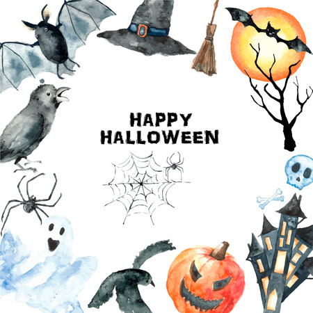 treat: Watercolor Halloween set.Hand painting halloween symbols isolated on white background. Illustration