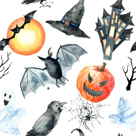 Watercolor Halloween set.Hand schilderen van Halloween symbolen op een witte achtergrond. Naadloos patroon.