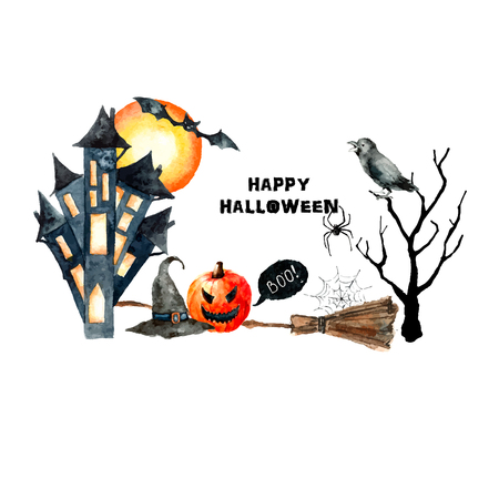 skecth: Watercolor Halloween set. Hand painting holiday banner on white background.