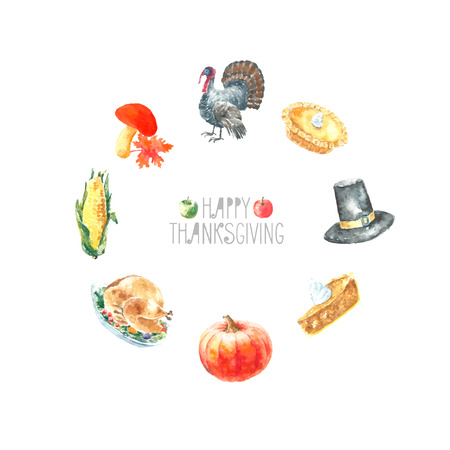 Watercolor thanksgiving day set. Hand drawn round frame illustrations. Illustration
