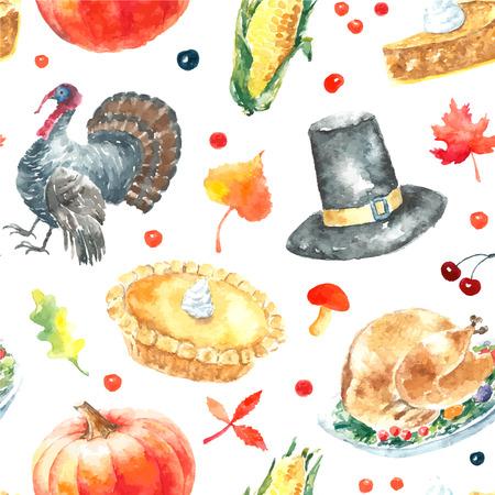 Waterverf het thanksgiving day ingesteld. Hand getrokken naadloos patroon illustraties.