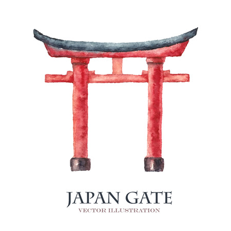 Watercolor Japan gate isolated on white background. Hand draw torii gate, japanese gate. Vector illustrations.