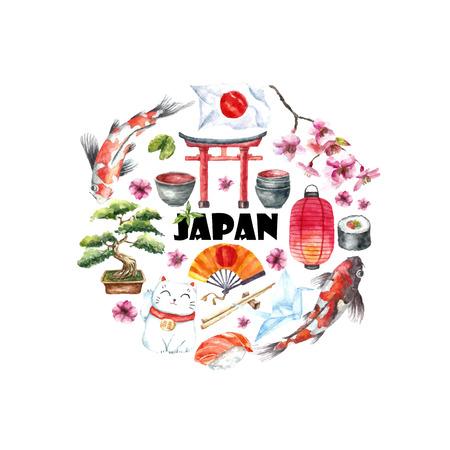 水彩日本フレーム。日本語オブジェクトの鳥居、折り紙の鳥、日本フラグ、吸猫、日本語ランタンとファン、芸者靴、盆栽、鯉と桜の手で円形フレ