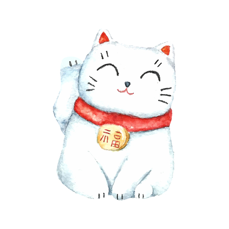 수채화 마네 키 네코. 손 일본어 행운의 고양이를 그립니다. 벡터 일러스트.