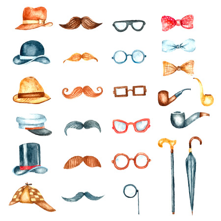 sir: Watercolor set vintage gentleman illustration. Hand drawn retro hat, glasses,smoking pipe,mustache,bow tie,walking sticks and umbrella isolated on white background.Vintage objects collection for your design Illustration