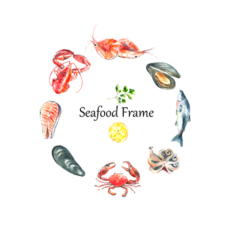 salmon: Watercolor frame of seafood.Hand draw isolated illustration on white background lobster,crab,shrimp,octopus,mussel,salmon with herbs,lemon and peppers.Fresh organic food.