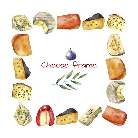 Fromage faisant divers types de fromage rond cadre d'illustration aquarelle sur un fond blanc avec rameau vert et figues. Vecteur.