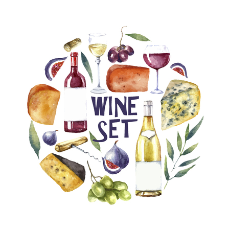 Watercolor wine and cheese frame. Hand draw round card background with  food objects. Red wine bottle and glass, white wine bottle and glass, grapes, cheeses, figs and green twig. Vector background.