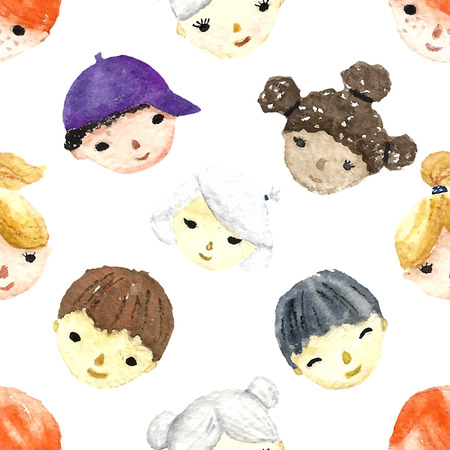 Set of watercolor children faces for your design. Seamless pattern. Vector.