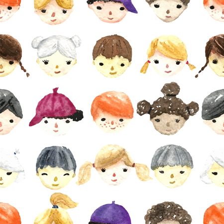 smiling faces: Set of watercolor children faces for your design. Seamless pattern. Vector.