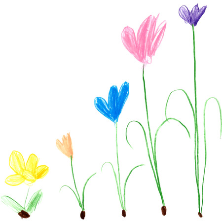 colored pencil: Children drawing - colored pencil flowers cartoon illustrations. Illustration