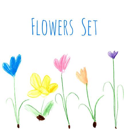 Les enfants de dessin - illustrations fleurs de bande dessinée au crayon de couleur. Banque d'images - 59266761