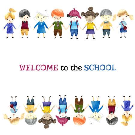 infancia: Acuarela escolares ilustración con lugar para el texto. Vector. Vectores