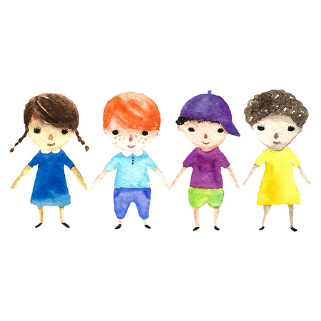 family outside: Watercolor children illustration. Vector cartoon illustrations gerl and boy.