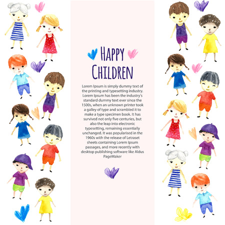 place for your text: Watercolor children illustration with place for your text. Vector.