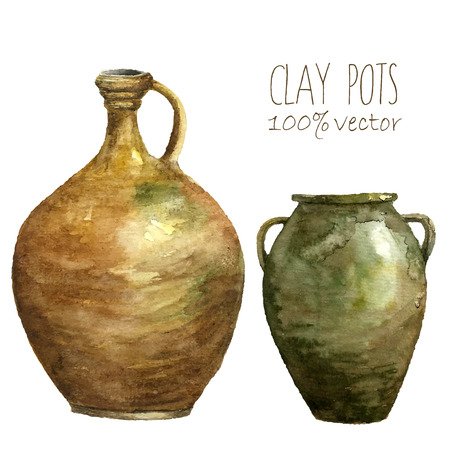 archeology: Watercolor clay pots. Hand draw isolated illustrations on white background. Art.