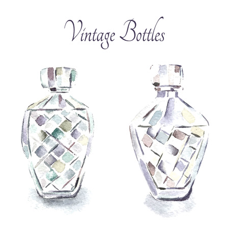 french perfume: Watercolor vintage perfume bottles. Vector illustration cartoon.