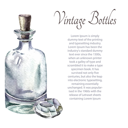 elixir: Watercolor vintage perfume bottles. Vector illustration cartoon.