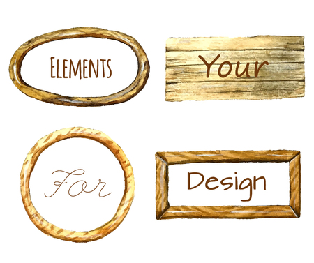 watercolor texture: Set of colored watercolor frames with wood texture. Isolated on white background. Illustrations for label design