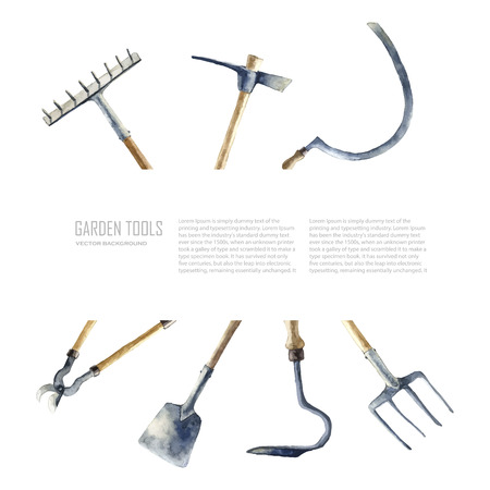 garden furniture: Watercolor garden tools set. Vector hand drawn illustrations: garden rake, sickle, knocker, pliers, garden forks, garden shovel.   Garden furniture objects isolated on white background with place for text. Illustration