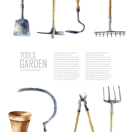 Watercolor garden tools set. Vector hand drawn illustrations: garden rake, sickle, knocker, pliers, garden forks, garden shovel.   Garden furniture objects isolated on white background with place for text. Ilustração