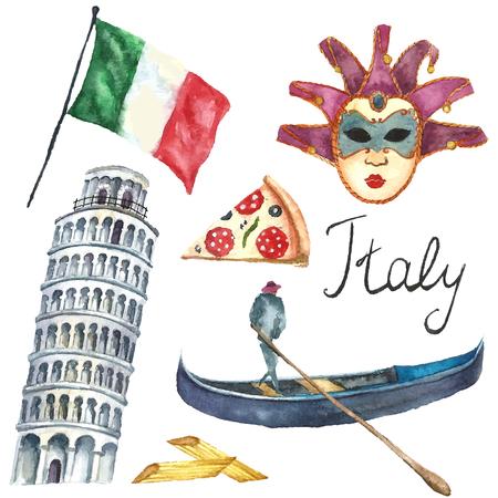 Aquarell Italien eingestellt. Vector Hand zeichnen Elemente Flagge von Italien, Turm von Pisa, Pizza, Gondel, Makkaroni, Karneval Maske. Italien Hauptstadt unterzeichnet Symbole. Vektorgrafik