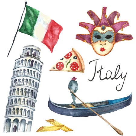 Watercolor Italy set. Vector hand draw elements flag of Italy, tower of Pisa, pizza, gondola, macaroni, carnival mask. Italy capital signs icons.