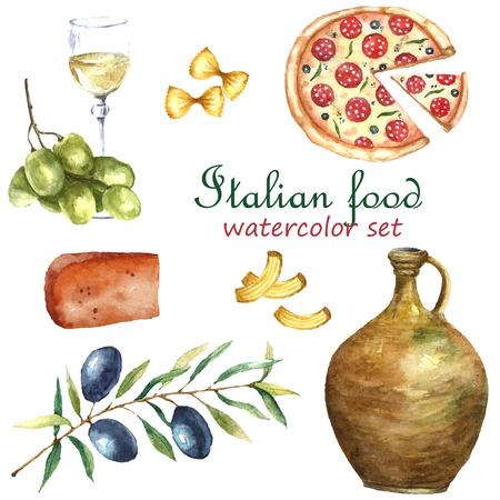 Watercolor Italy food set. Vector hand draw elements: pizza, macaroni, cheese, olive branch, grape, glass of wine, clay jug.   Italy capital signs icons. Ilustração