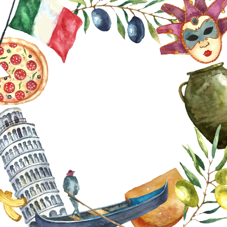 Watercolor Italy landmark frame. Hand draw card background with objects tower of Pisa, pizza, gondola, macaroni, bottle of white wine, clay pot, branch olive, cheese and glass of wine.