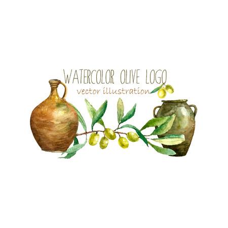 ollas de barro: Acuarela artísticos rama de olivo y arcilla ollas. Dibujado a mano elementos naturales aceitunas verdes, rama de olivo, ollas de barro. Vector de diseño de la etiqueta de la vendimia. Vectores