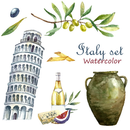 Watercolor Italy set. Vector hand draw elements olive branch, tower of Pisa, macaroni, wine of bottle, cheese, clay jug. Italy capital signs icons.