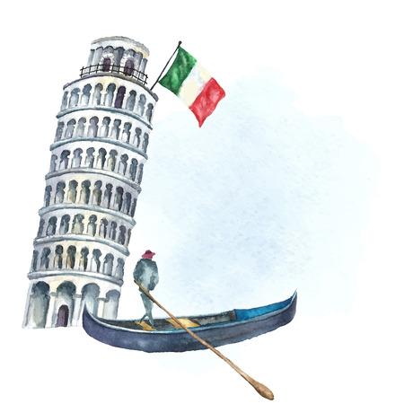 Watercolor artistic tower of Pisa with flag of Italy and Italian gondola.  Vector vintage label design.